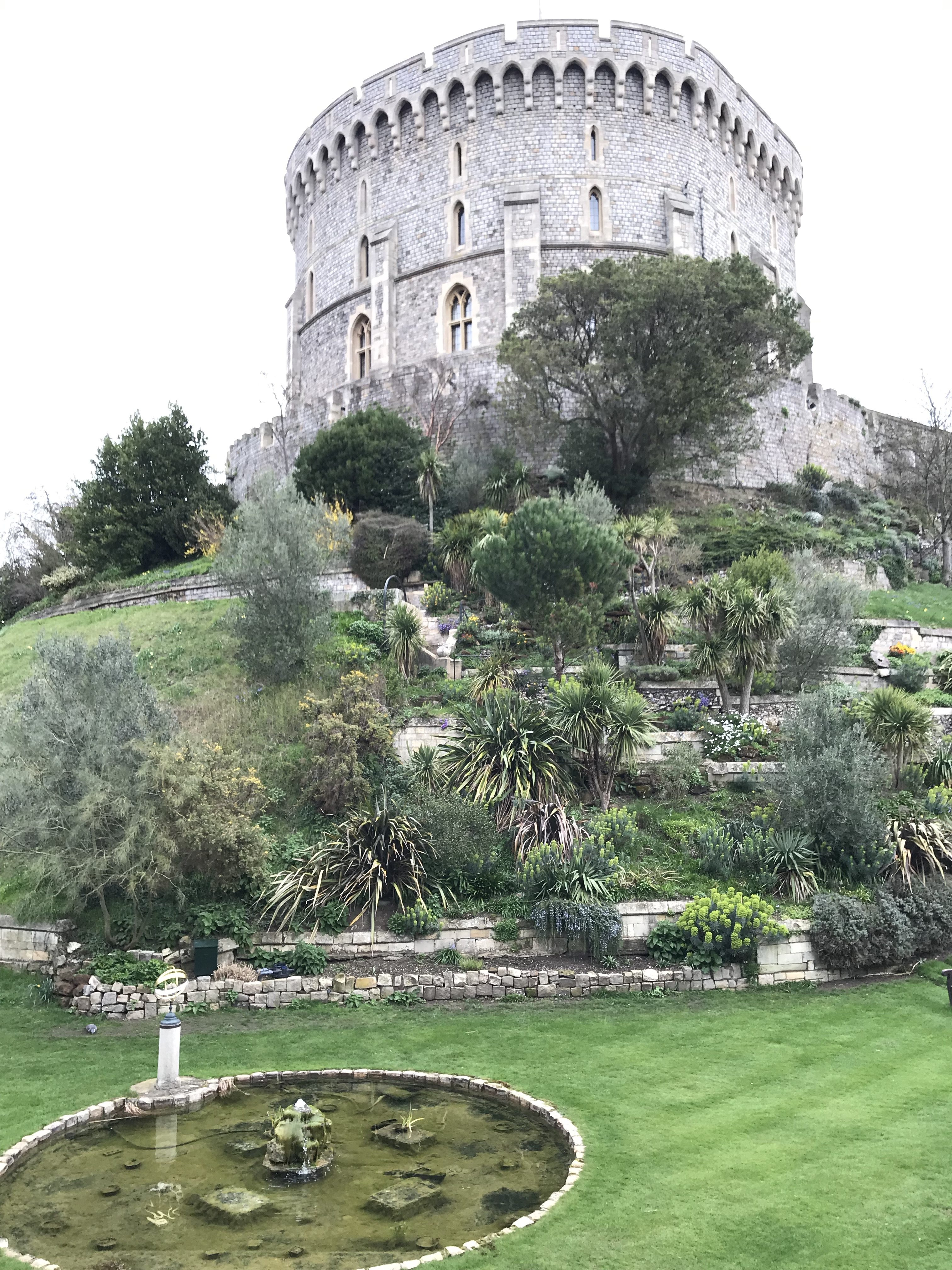 Round tower and gardens below it at Windsor Castle