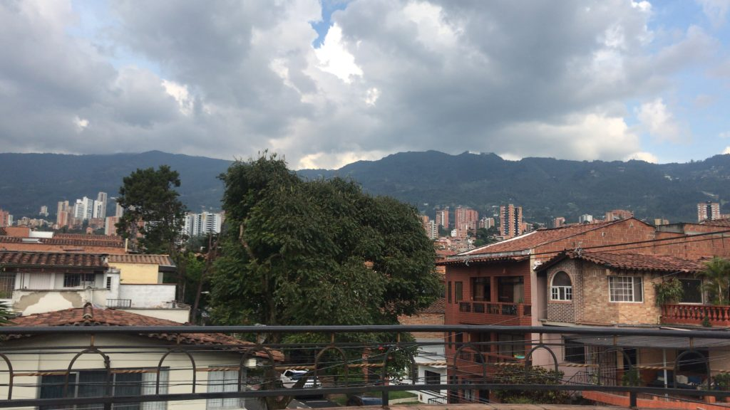 Colombian homes with the mountains of Medellin in the background