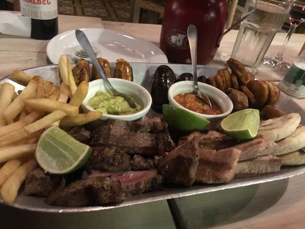 Delicious meat plate of traditional Colombian prepared foods