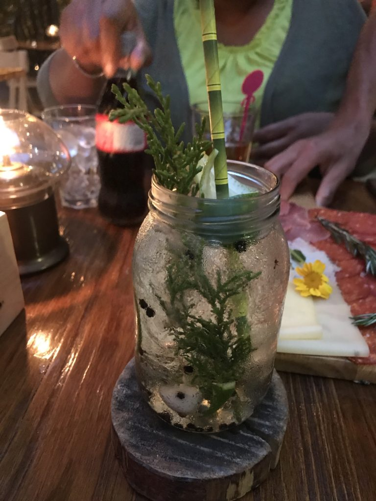 Piney gin drink with a dry ice chip inside to make it fizzy