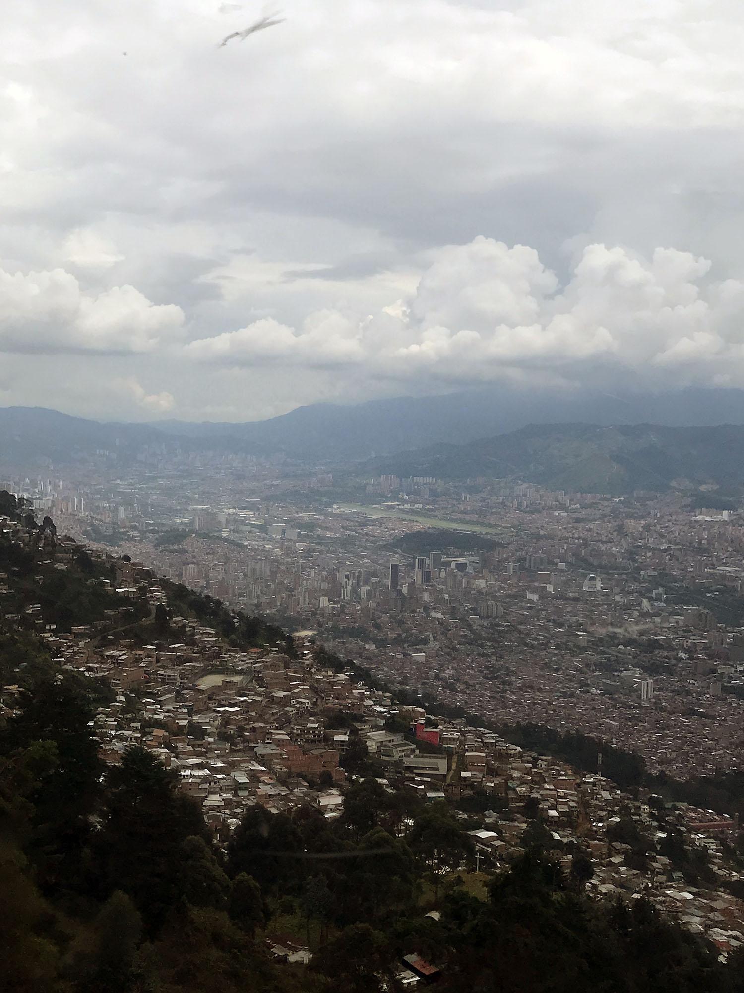 Vista of Medellin high above the city
