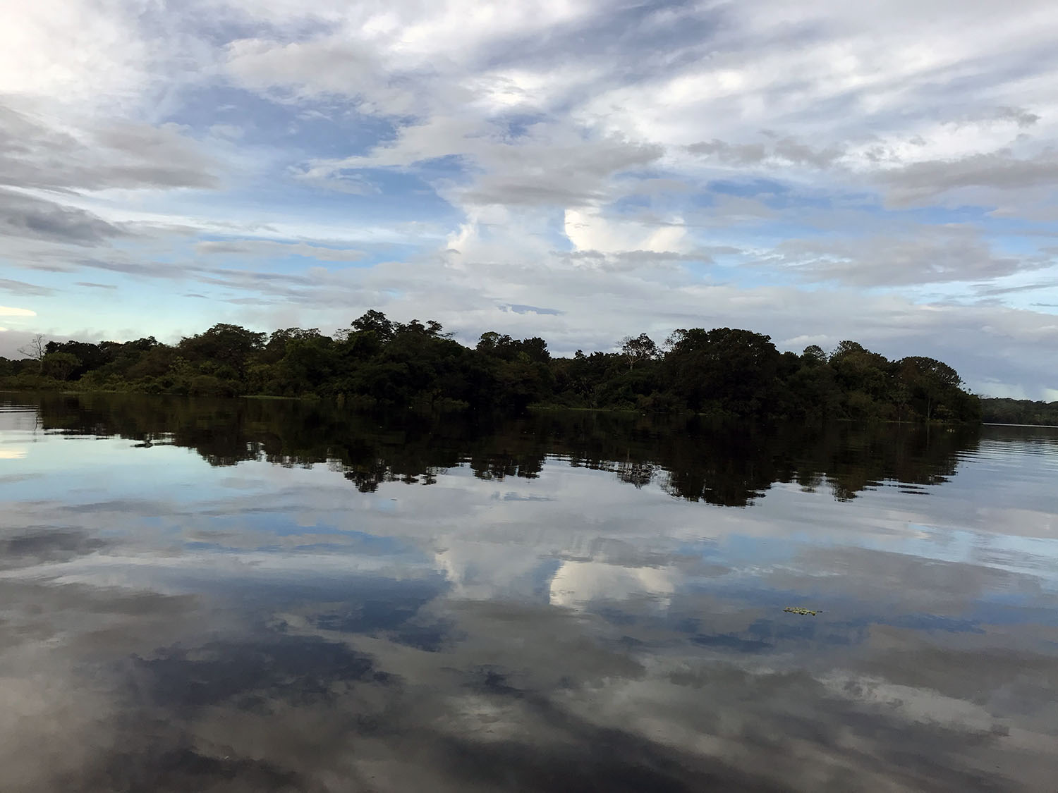 Amazon lakes reflecting the beautiful sky and the islands