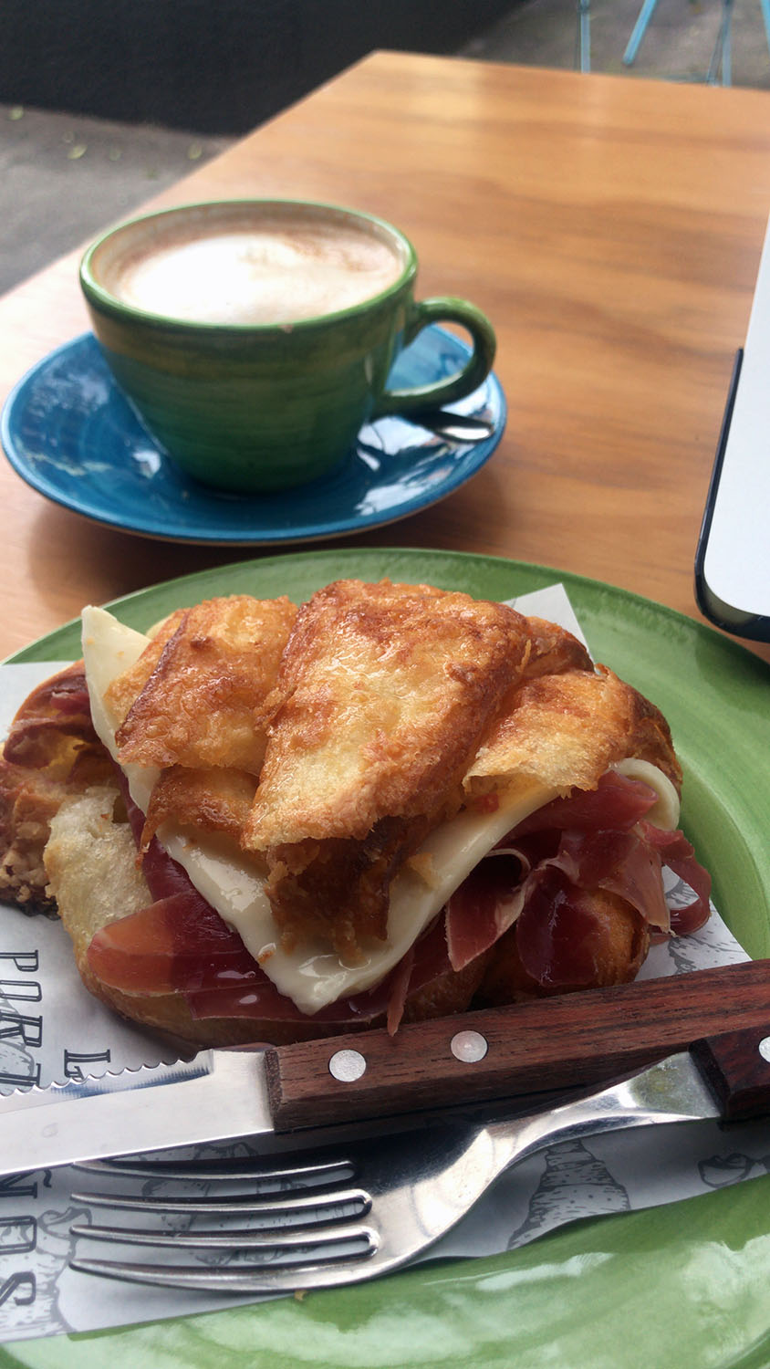 Amazing croissant with Serrano ham and gouda cheese
