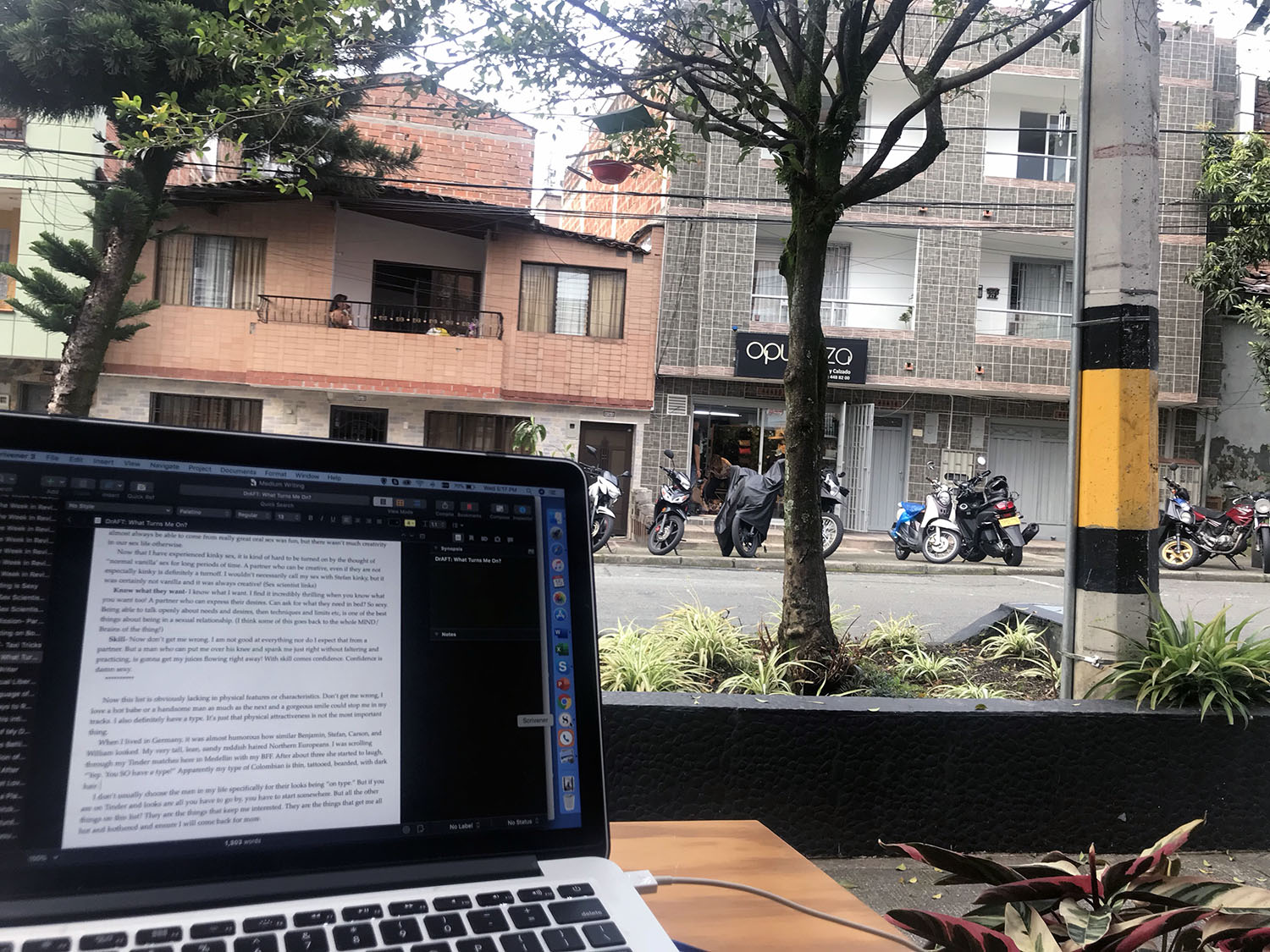 Writing at a cafe down the street