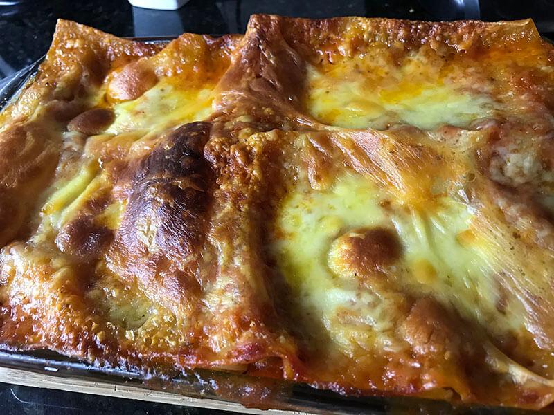 Bubbling cheesy lasagna