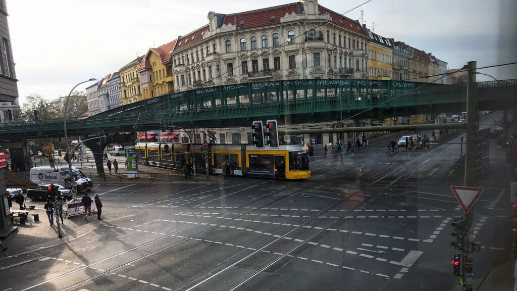 Corner with train and tram