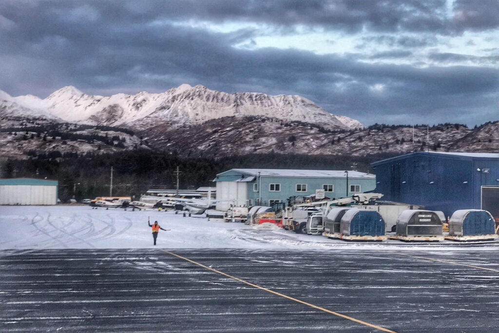 Kodiak airport with mountain