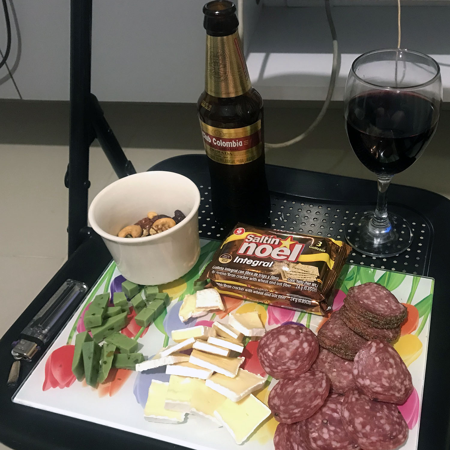 Snacks with cheese and salami