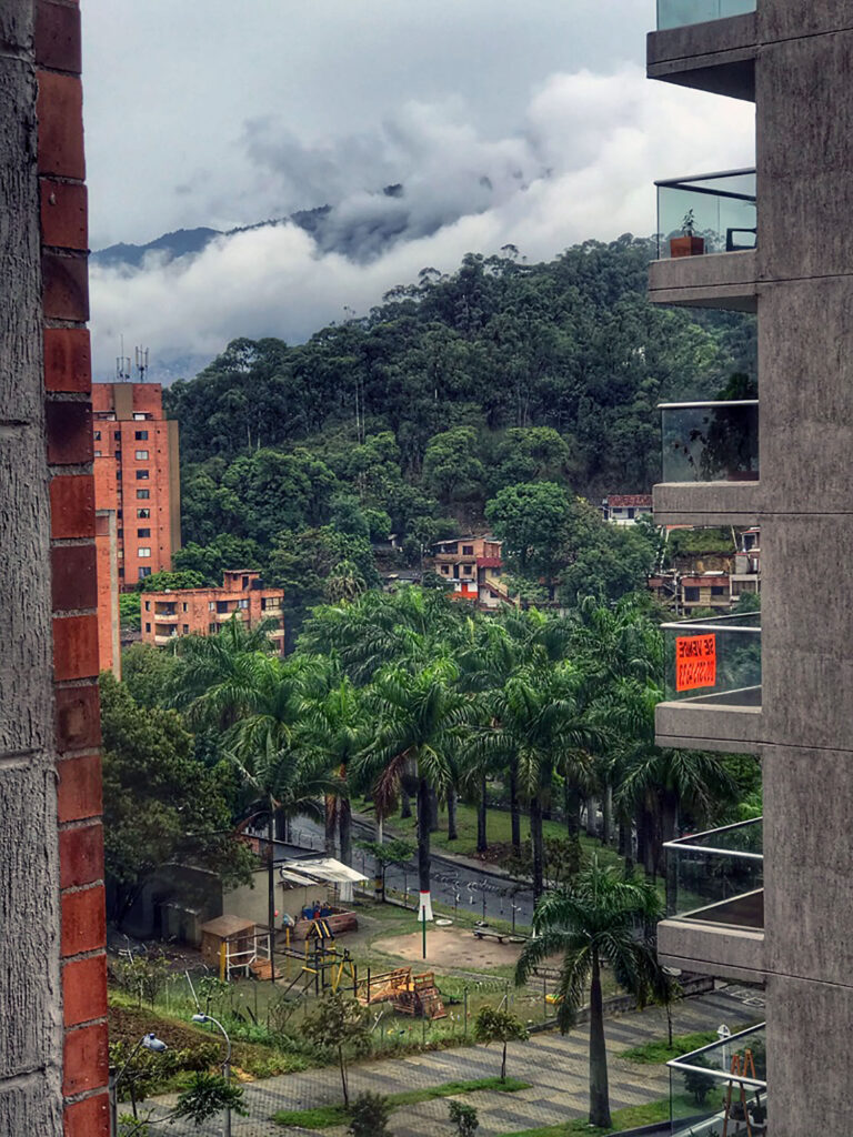 Tropical mountain view from the city
